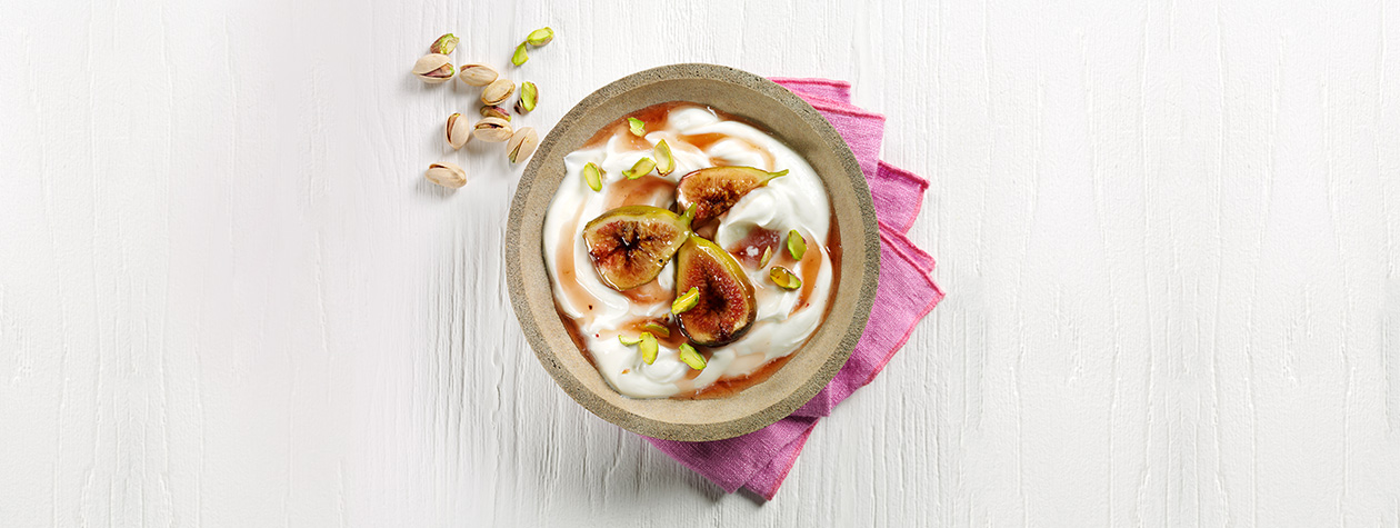 Yoghurt with figs poached in rosewater
