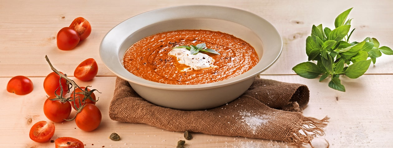 Spicy Tomato Soup, with Basil and FAGE Total Yoghurt