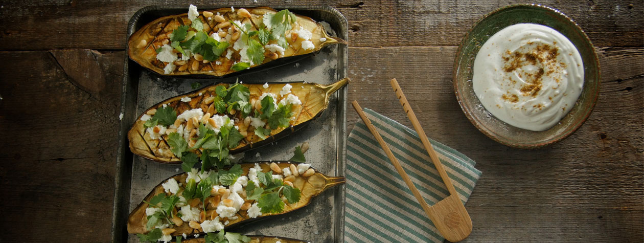 Baked Aubergine with Garlic & Cumin Yoghurt