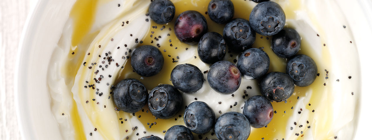 Blueberry & Lemon Curd Yoghurt with Poppy Seeds