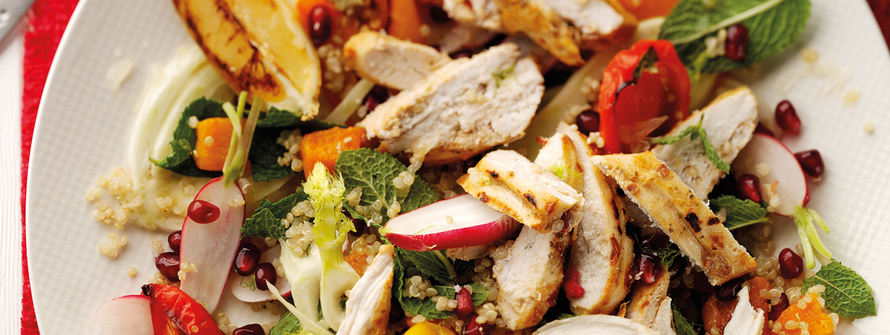 Harissa Roasted Chicken with Quinoa Salad