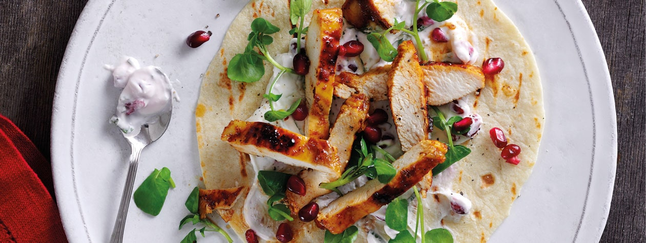 Sticky Ras-El-Hanout Chicken Wraps with Yoghurt, Mint & Pomegranate Dressing