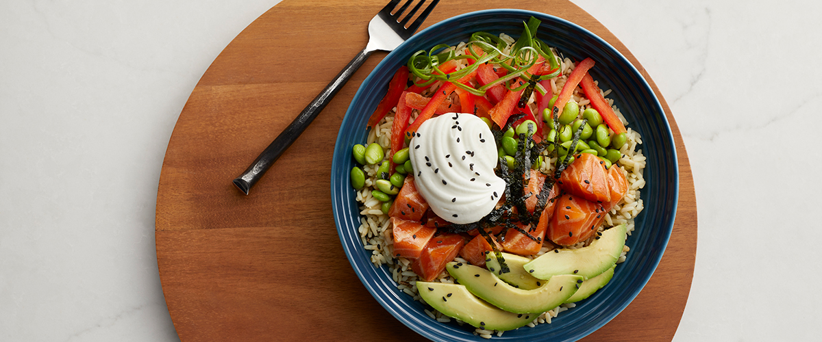Salmon Rice Bowl with Greek Yogurt