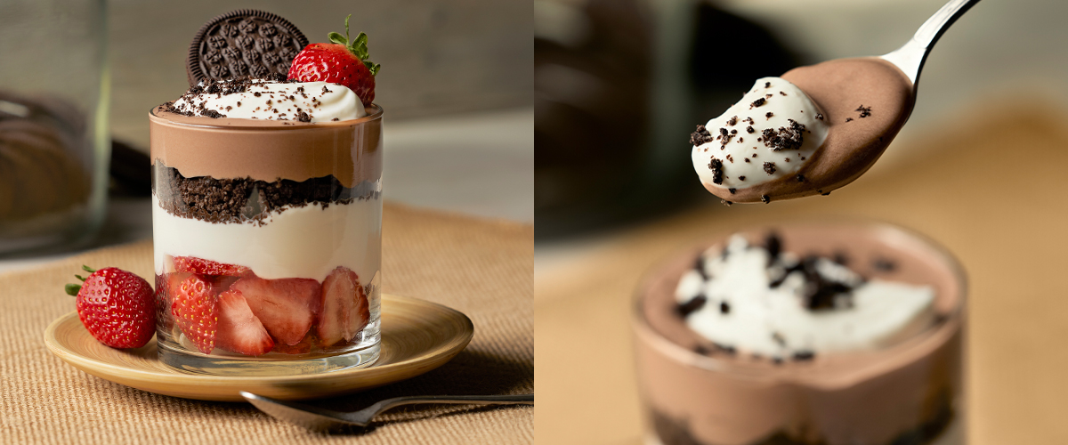 Chocolate Cookie Crumble & Strawberry Parfait