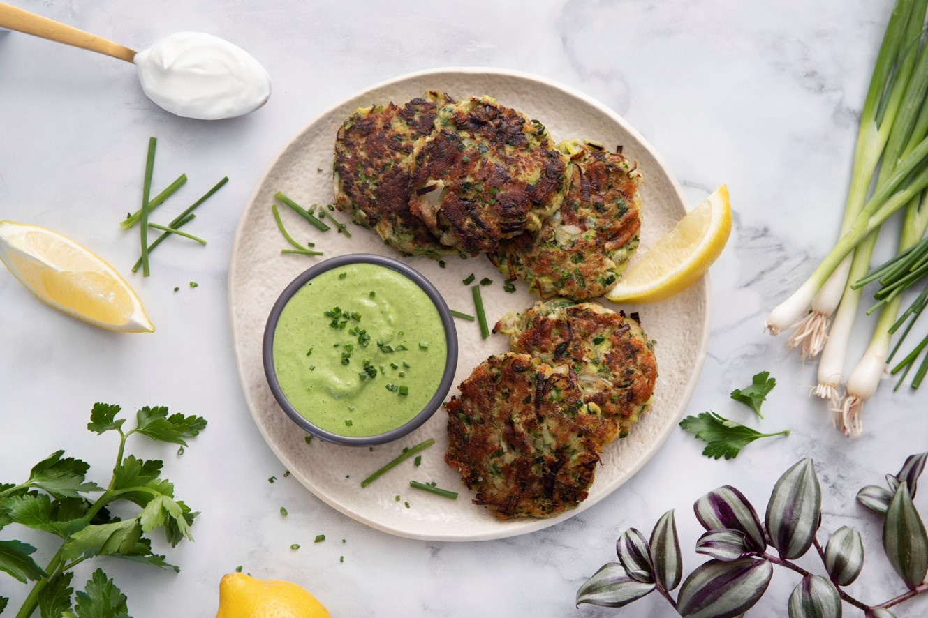 Courgette-Cheddar Fritters with Yoghurt Herb Sauce
