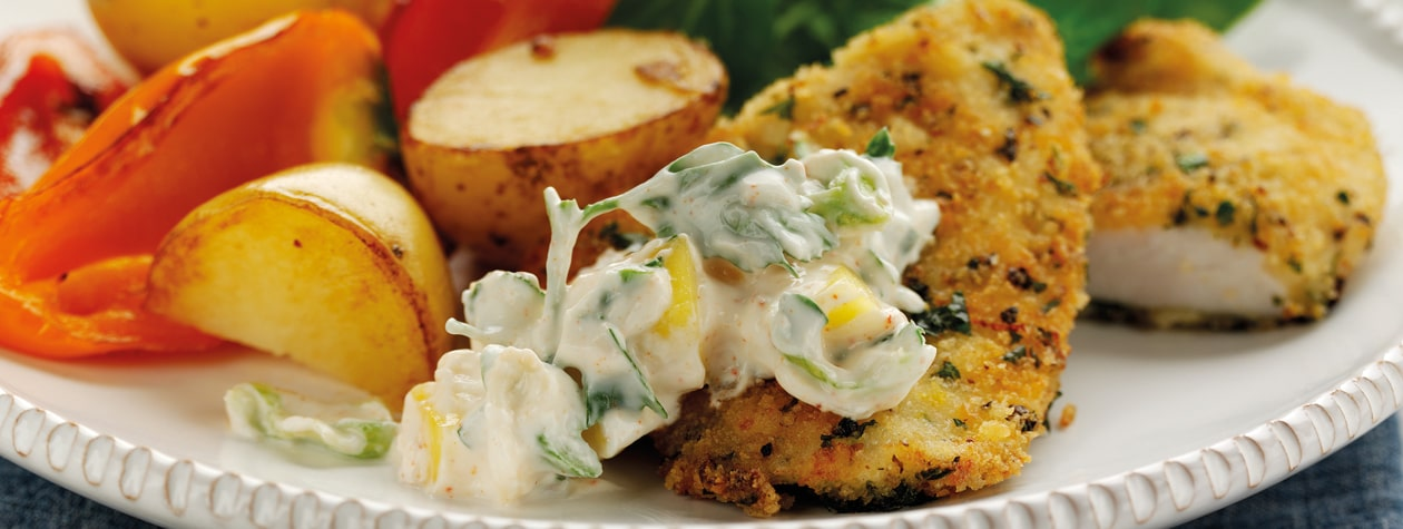 Crispy Garlic Chicken with Creamy Mango Salsa
