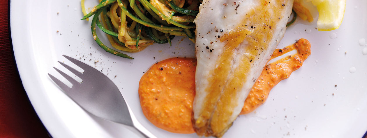 Courgette Spaghetti with Grilled Sea bass, Almond & Red Pepper Pesto