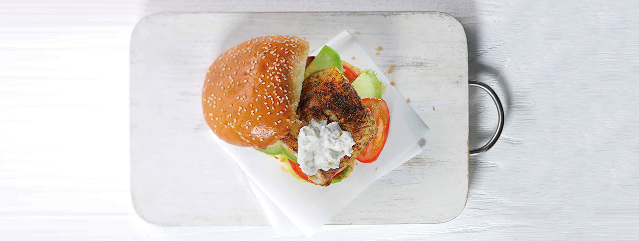 Fish Burger with Blue Cheese