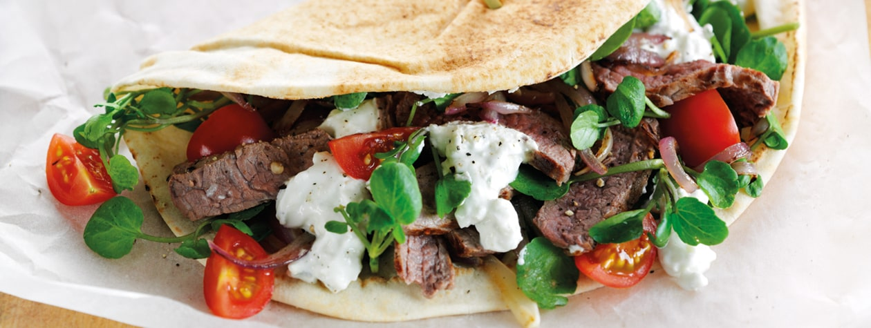 Hot Steak Schwarma with Blue Cheese Dressing, Watercress & Onions