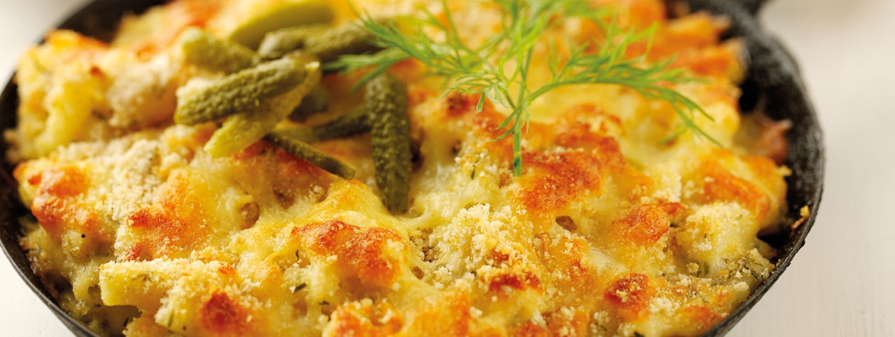 Macaroni Cheese with Dill & Pickled Gherkins