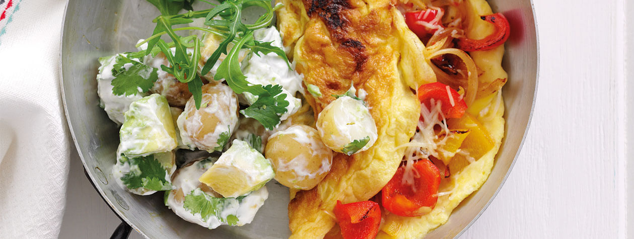 Chilli & Pepper Omelette with Avocado Potato Salad