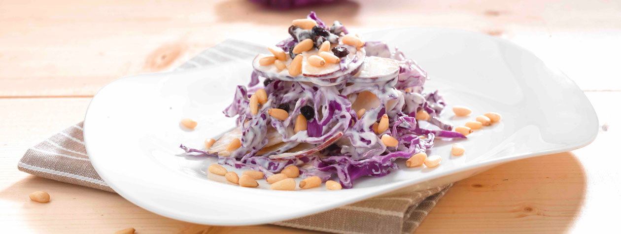 Apple, Red Cabbage, Raisin & Pine Nut Salad
