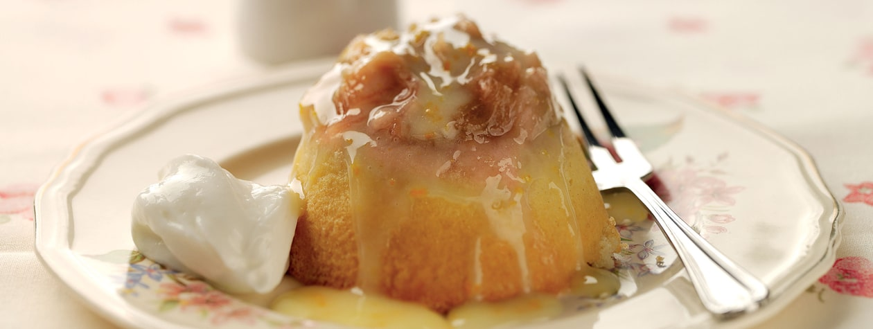 Rhubarb & Ginger Sponge Pots with an Orange Drizzle