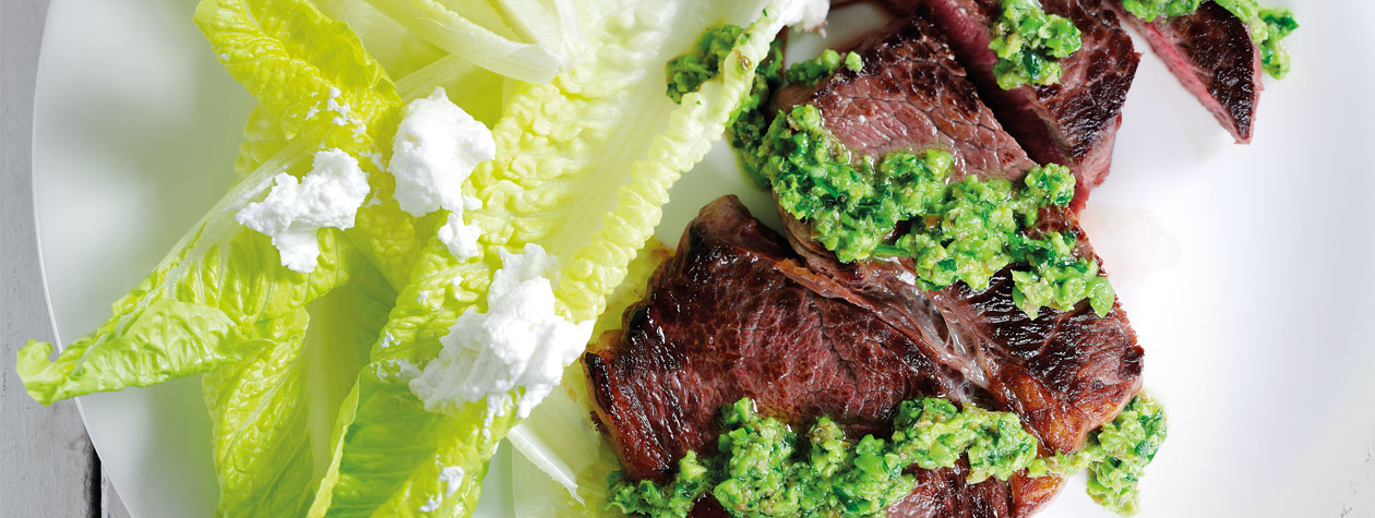 Steak with Salsa Verde & Labneh