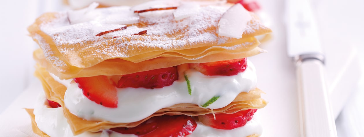 Strawberry, Coconut, Mint & Lime Millefeuille